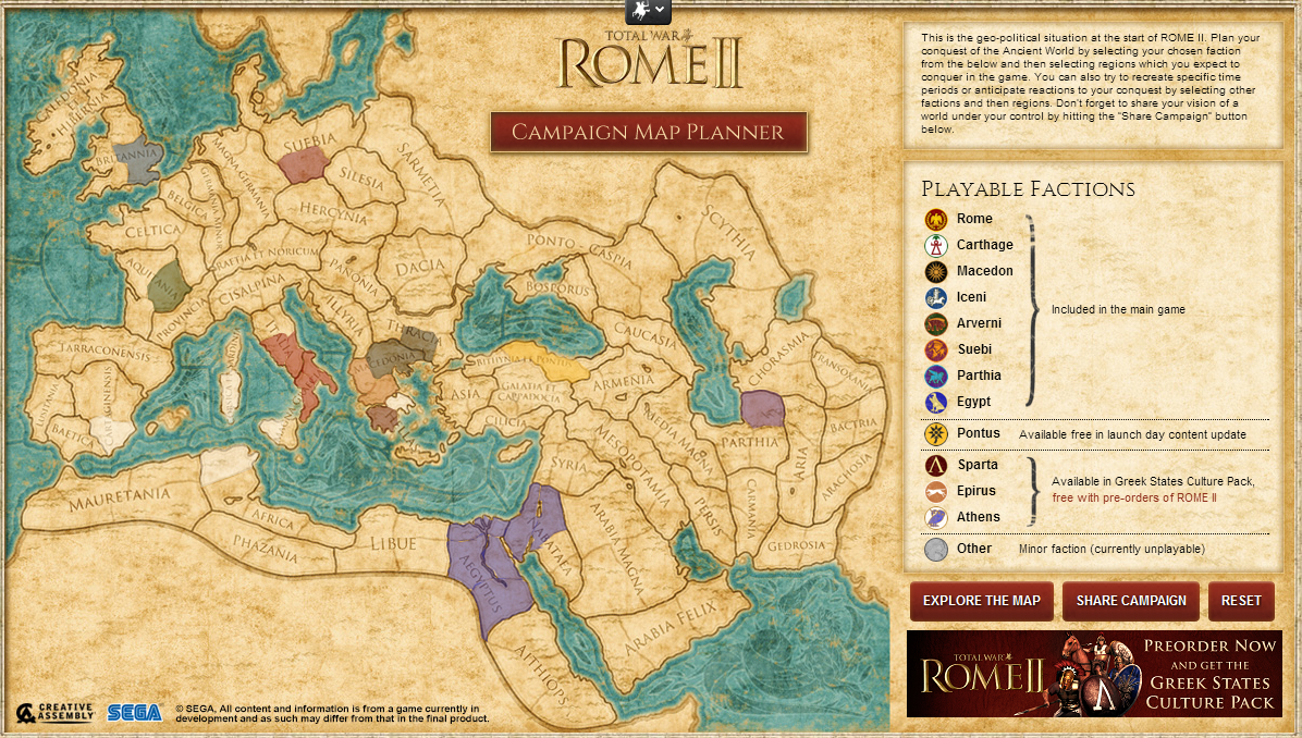 Total War Rome II interactive Map