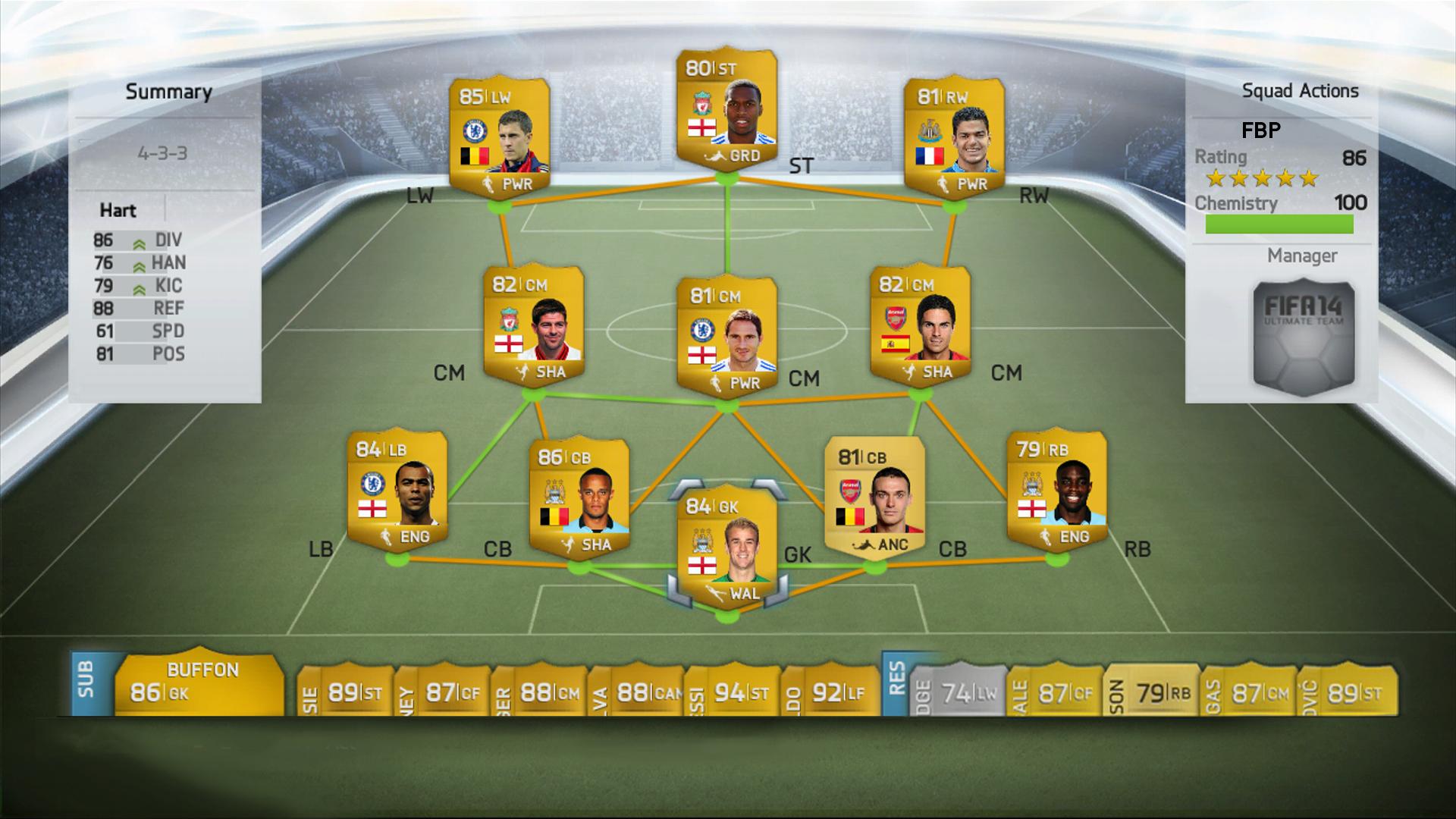 L'interfaccia dell'Ultimate Football team di Fifa 14