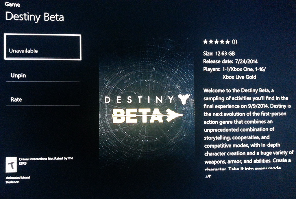 destny beta xbox one