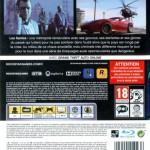 La copertina posteriore di GTA V (benché in francese), si evincono ugualmente i simboli del PEGI: 18 per l'età, ed i singoli di violenza e linguaggio scurrile