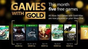 Games With Gold, ecco i titoli di dicembre 2015