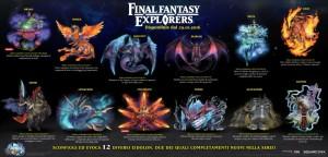 Final Fantasy Explorers, infografica con i 12 Eidolon