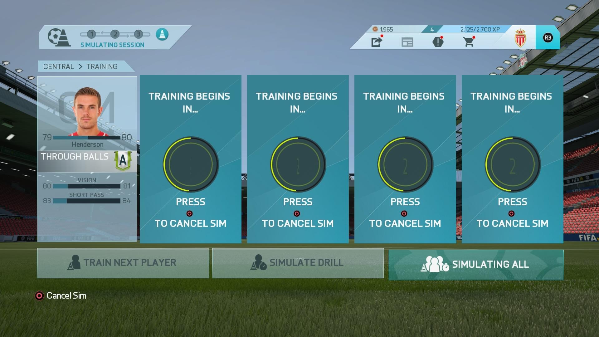 Il programma degli allenamenti del calciatore nella modalità carriera. In questo caso è ancora in allestimento ma si potranno scegliere tra diversi mini-giochi