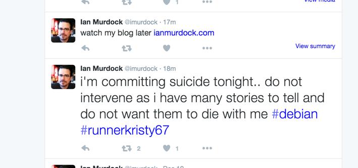 Ian Murdock post su twitter sul suicidio