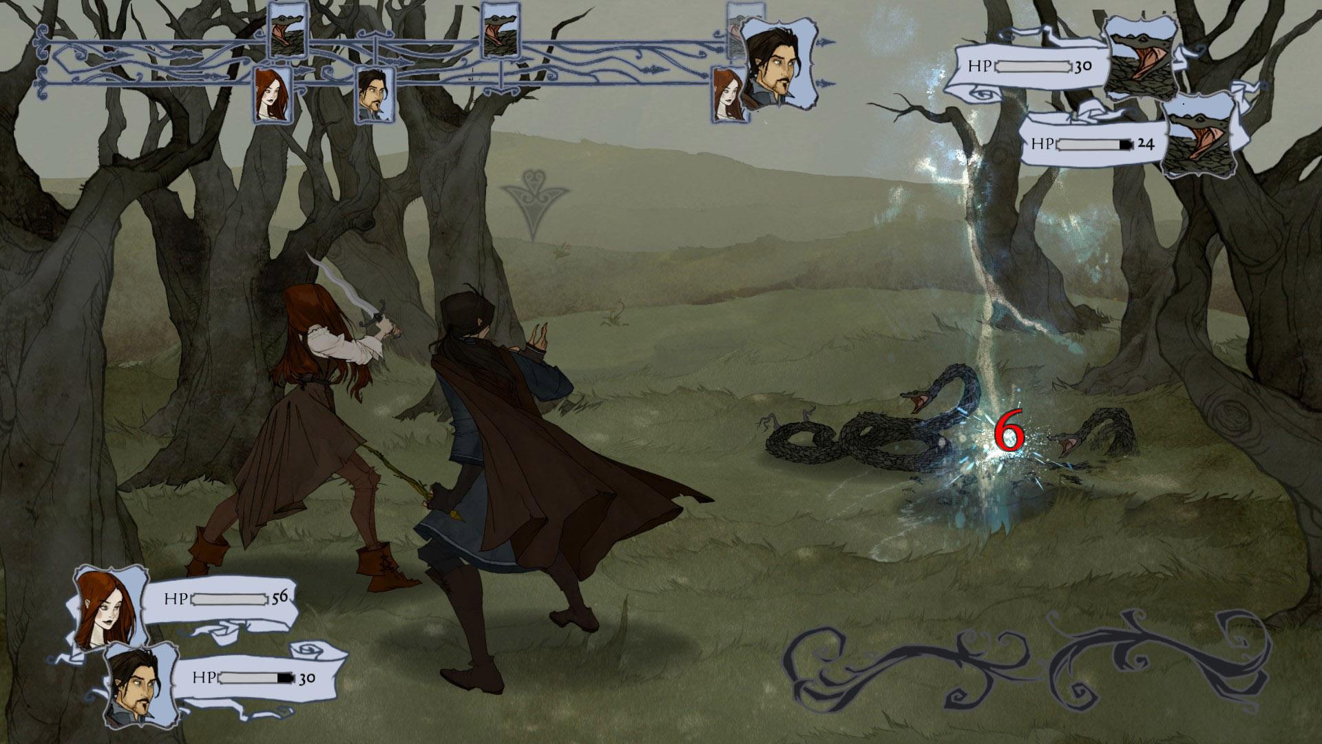 Marcus dà prova delle sue abilità magiche colpendo abilmente i minacciosi serpenti che si parano davanti ai nostri due protagonisti