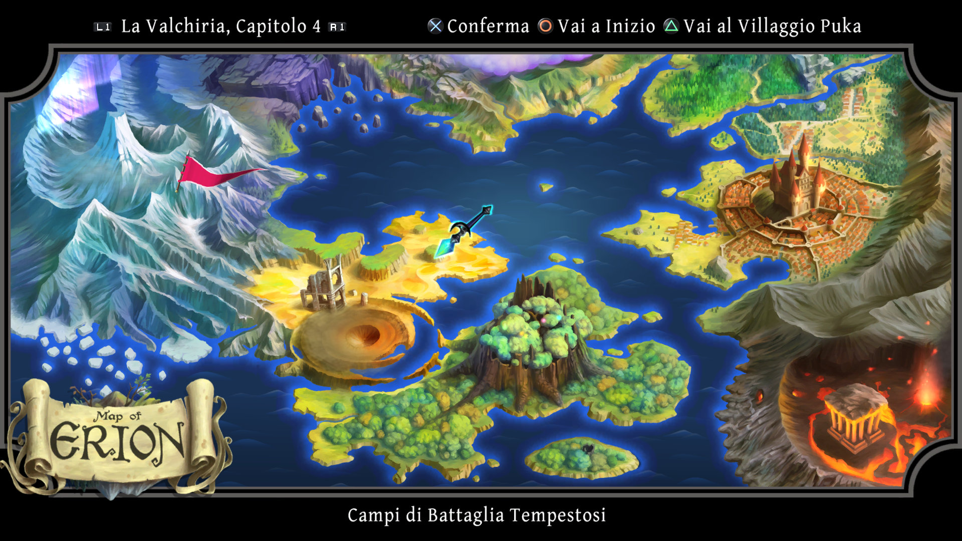 La mappa di gioco, vediamo il continte di Erion