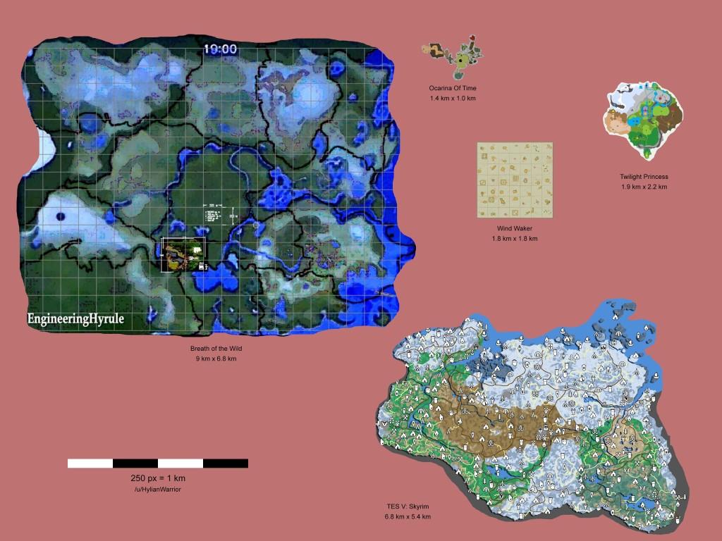 la mappa di gioco di The Legend of Zelda Breath of the Wild a confronto