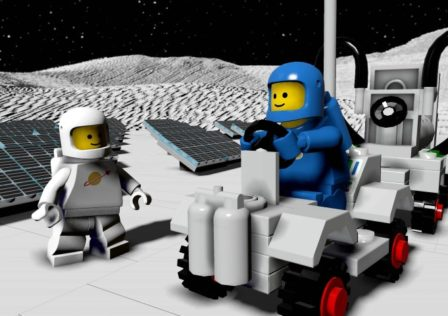 Spaceman (Blue) on Buggy with Spaceman (White)