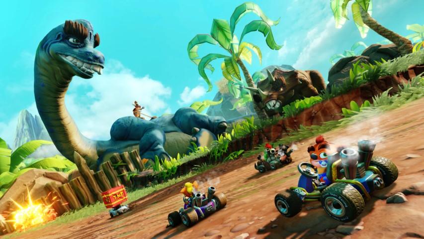 7d27a1a28f ... Beenox ha superato sé stesso con il nuovo tracciato Prehistoric  Playground. Questo calerà i racer in un mondo epico con piante di  dimensioni giurassiche ...